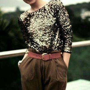 ZARA Basic T-Shirt Special Edition Sequin Top Sz M